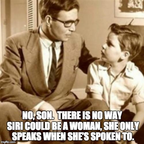 Father and Son | NO, SON.  THERE IS NO WAY SIRI COULD BE A WOMAN, SHE ONLY SPEAKS WHEN SHE'S SPOKEN TO. | image tagged in father and son | made w/ Imgflip meme maker