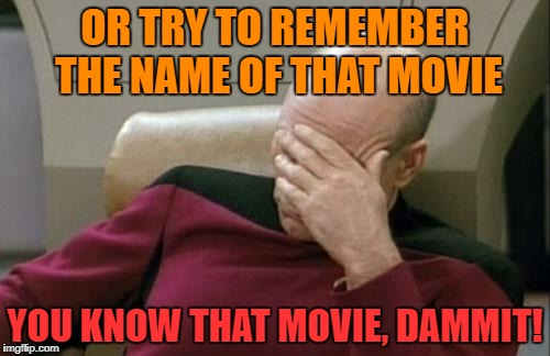Captain Picard Facepalm Meme | OR TRY TO REMEMBER THE NAME OF THAT MOVIE YOU KNOW THAT MOVIE, DAMMIT! | image tagged in memes,captain picard facepalm | made w/ Imgflip meme maker