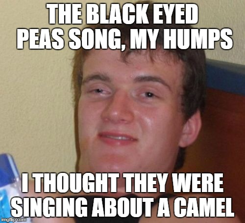 10 Guy Meme | THE BLACK EYED PEAS SONG, MY HUMPS I THOUGHT THEY WERE SINGING ABOUT A CAMEL | image tagged in memes,10 guy | made w/ Imgflip meme maker