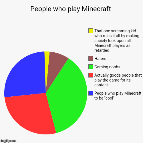 "People who play Minecraft | People who play Minecraft to be ""cool"", Actually goods people that play the game for its content, Gaming noobs,  