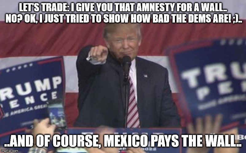 NoName | LET'S TRADE: I GIVE YOU THAT AMNESTY FOR A WALL.. NO? OK, I JUST TRIED TO SHOW HOW BAD THE DEMS ARE! ;).. ..AND OF COURSE, MEXICO PAYS THE W | image tagged in noname | made w/ Imgflip meme maker