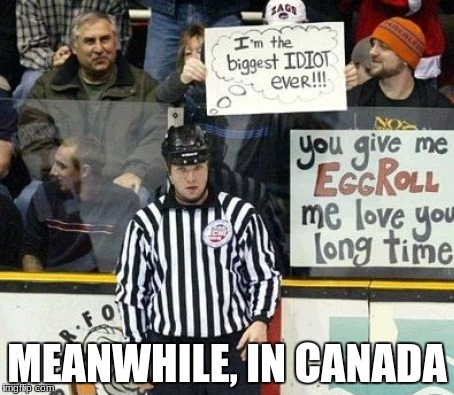 Canadians are nice, but when it comes to hockey, that ends. Here is an example :). | MEANWHILE, IN CANADA | image tagged in meanwhile in canada | made w/ Imgflip meme maker