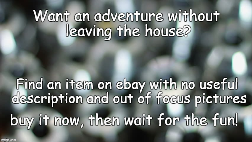 Adventures with Ebay | Want an adventure without leaving the house? Find an item on ebay with no useful description and out of focus pictures buy it now, then wait | image tagged in ebay | made w/ Imgflip meme maker