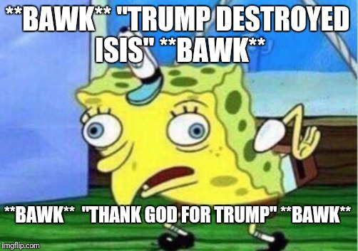 "Brainwashed Trumpkins | **BAWK** ""TRUMP DESTROYED ISIS"" **BAWK** **BAWK**  ""THANK GOD FOR TRUMP"" **BAWK** 