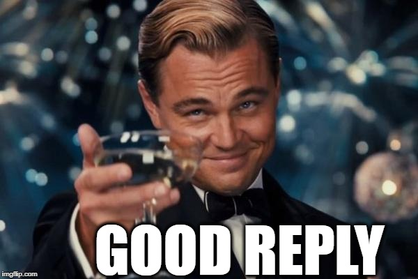 Leonardo Dicaprio Cheers Meme | GOOD REPLY | image tagged in memes,leonardo dicaprio cheers | made w/ Imgflip meme maker
