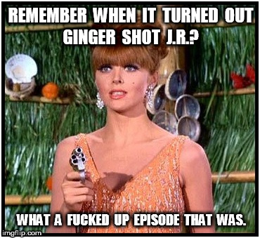 Ginger's Got a Gun: Remember when it turned out Ginger shot JR? | REMEMBER  WHEN  IT  TURNED  OUT WHAT  A  F**KED  UP  EPISODE  THAT  WAS. GINGER  SHOT  J.R.? | image tagged in ginger,jr | made w/ Imgflip meme maker