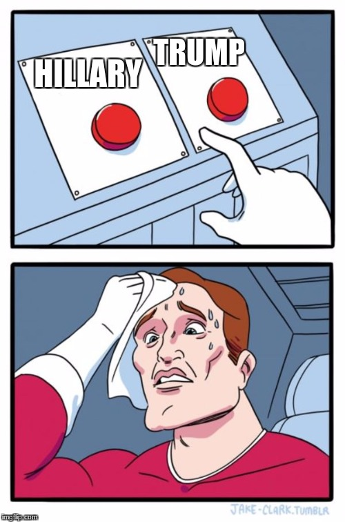 Two Buttons Meme | HILLARY TRUMP | image tagged in memes,two buttons | made w/ Imgflip meme maker