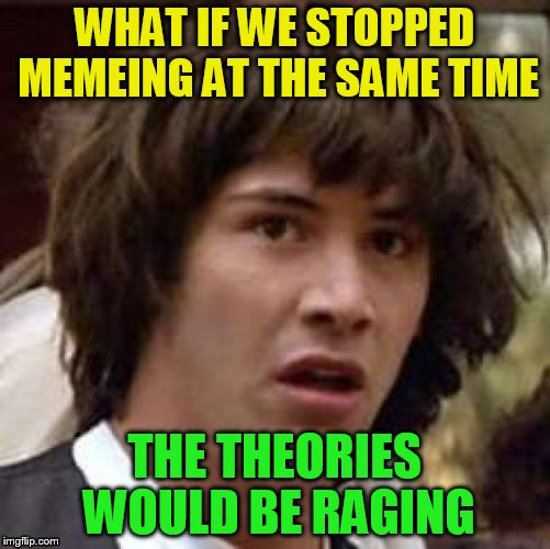WHAT IF WE STOPPED MEMEING AT THE SAME TIME THE THEORIES WOULD BE RAGING | made w/ Imgflip meme maker