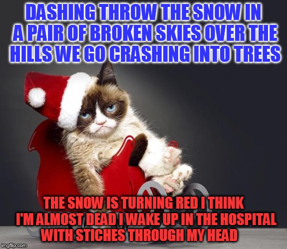 Grumpy Cat Christmas HD | DASHING THROW THE SNOW IN A PAIR OF BROKEN SKIES OVER THE HILLS WE GO CRASHING INTO TREES THE SNOW IS TURNING RED I THINK  I'M ALMOST DEAD I | image tagged in grumpy cat christmas hd | made w/ Imgflip meme maker