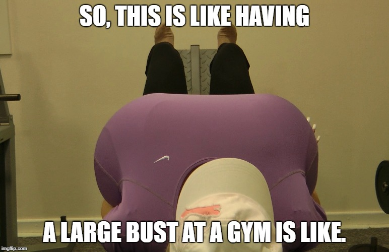 SO, THIS IS LIKE HAVING A LARGE BUST AT A GYM IS LIKE. | image tagged in beshine | made w/ Imgflip meme maker