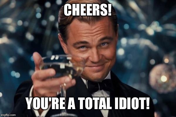 Leonardo Dicaprio Cheers Meme | CHEERS! YOU'RE A TOTAL IDIOT! | image tagged in memes,leonardo dicaprio cheers | made w/ Imgflip meme maker