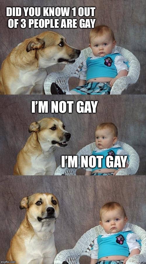 Dad Joke Dog Meme | DID YOU KNOW 1 OUT OF 3 PEOPLE ARE GAY I'M NOT GAY I'M NOT GAY | image tagged in memes,dad joke dog | made w/ Imgflip meme maker
