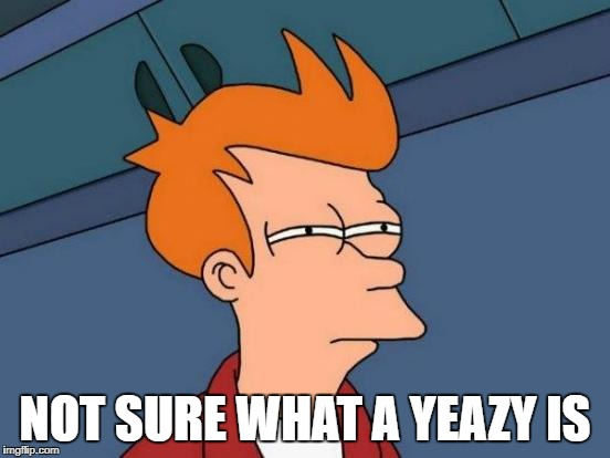 Futurama Fry Meme | NOT SURE WHAT A YEAZY IS | image tagged in memes,futurama fry | made w/ Imgflip meme maker