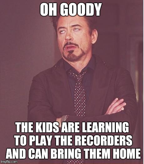 Face You Make Robert Downey Jr Meme | OH GOODY THE KIDS ARE LEARNING TO PLAY THE RECORDERS AND CAN BRING THEM HOME | image tagged in memes,face you make robert downey jr | made w/ Imgflip meme maker