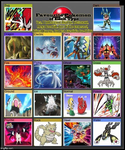 favorite pokemon of each type imgflip