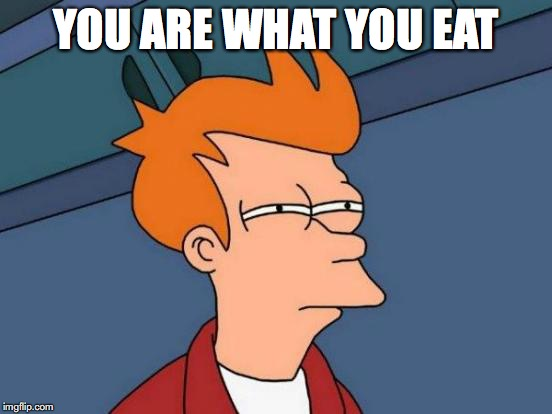 Futurama Fry Meme | YOU ARE WHAT YOU EAT | image tagged in memes,futurama fry | made w/ Imgflip meme maker
