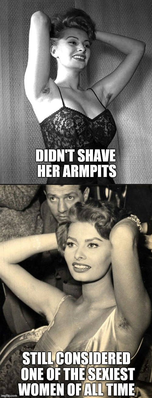 DIDN'T SHAVE HER ARMPITS STILL CONSIDERED ONE OF THE SEXIEST WOMEN OF ALL TIME | made w/ Imgflip meme maker