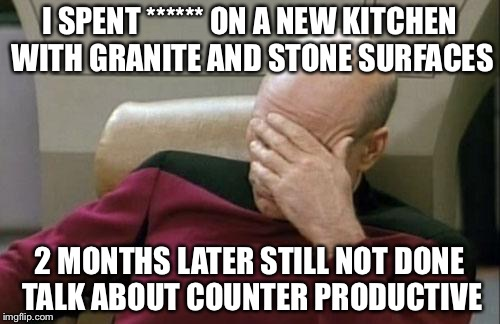 Captain Picard Facepalm Meme | I SPENT ****** ON A NEW KITCHEN WITH GRANITE AND STONE SURFACES 2 MONTHS LATER STILL NOT DONE TALK ABOUT COUNTER PRODUCTIVE | image tagged in memes,captain picard facepalm | made w/ Imgflip meme maker