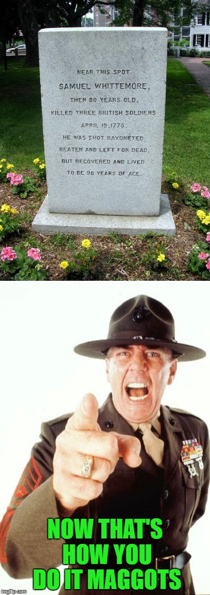 Never surrender!!! My hat's off to you Sam! | NOW THAT'S HOW YOU DO IT MAGGOTS | image tagged in funny gravestone,memes,r lee ermey,funny,hard to kill | made w/ Imgflip meme maker