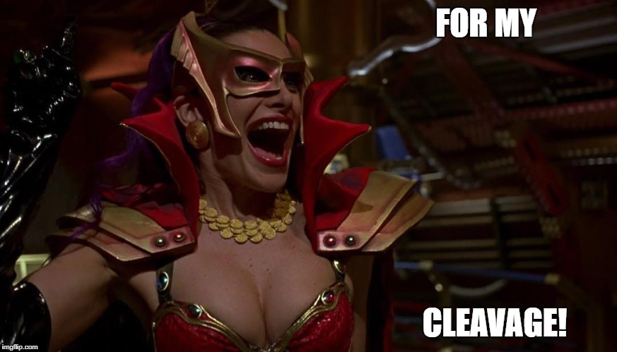 FOR MY CLEAVAGE! | image tagged in hilary shepard divatox | made w/ Imgflip meme maker