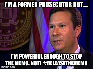 Frank release the memo | I'M A FORMER PROSECUTOR BUT..... I'M POWERFUL ENOUGH TO STOP THE MEMO. NOT!  #RELEASETHEMEMO | image tagged in releasethememo | made w/ Imgflip meme maker