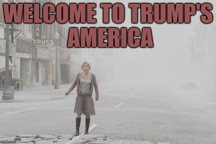 WELCOME TO TRUMP'S AMERICA | image tagged in silent hill movie - in fog and ash | made w/ Imgflip meme maker