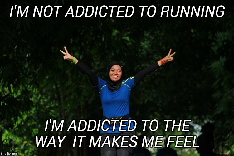 Real runners | I'M NOT ADDICTED TO RUNNING I'M ADDICTED TO THE WAY  IT MAKES ME FEEL | image tagged in running | made w/ Imgflip meme maker