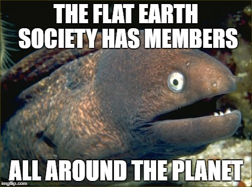 Bad Joke Eel | THE FLAT EARTH SOCIETY HAS MEMBERS ALL AROUND THE PLANET | image tagged in memes,bad joke eel | made w/ Imgflip meme maker