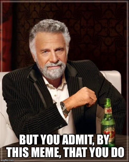 The Most Interesting Man In The World Meme | BUT YOU ADMIT, BY THIS MEME, THAT YOU DO | image tagged in memes,the most interesting man in the world | made w/ Imgflip meme maker