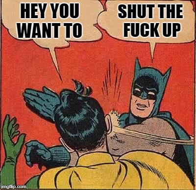 Batman Slapping Robin Meme | HEY YOU WANT TO SHUT THE F**K UP | image tagged in memes,batman slapping robin | made w/ Imgflip meme maker