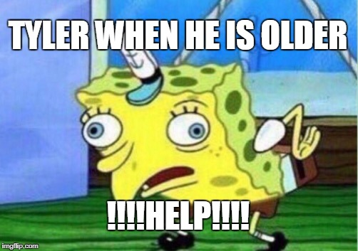 Mocking Spongebob Meme | TYLER WHEN HE IS OLDER !!!!HELP!!!! | image tagged in memes,mocking spongebob | made w/ Imgflip meme maker