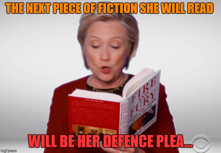 THE NEXT PIECE OF FICTION SHE WILL READ WILL BE HER DEFENCE PLEA... | image tagged in boo | made w/ Imgflip meme maker