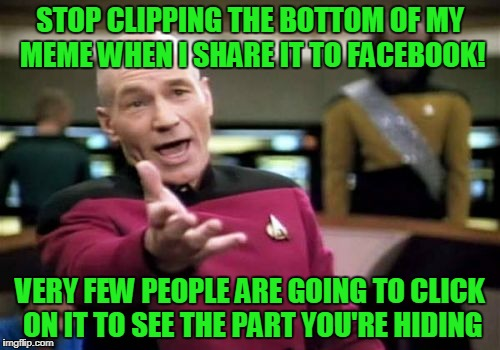 Stop view blocking imgflip! | STOP CLIPPING THE BOTTOM OF MY MEME WHEN I SHARE IT TO FACEBOOK! VERY FEW PEOPLE ARE GOING TO CLICK ON IT TO SEE THE PART YOU'RE HIDING | image tagged in memes,picard wtf | made w/ Imgflip meme maker