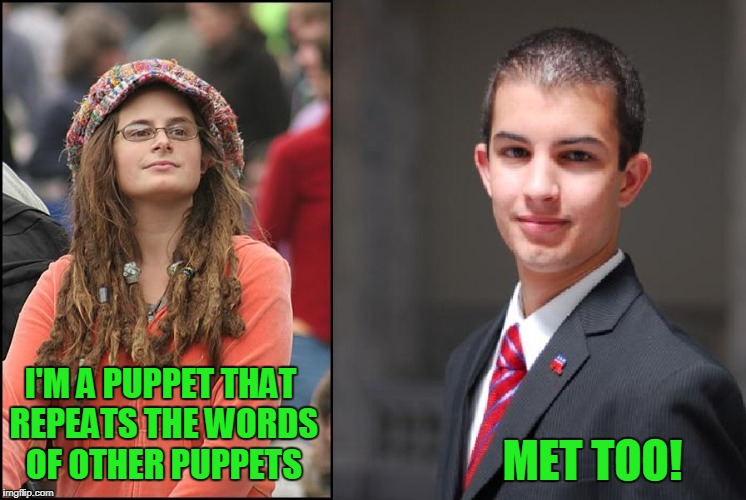 Let's find the common ground. | I'M A PUPPET THAT REPEATS THE WORDS OF OTHER PUPPETS MET TOO! | image tagged in college liberal and conservative | made w/ Imgflip meme maker