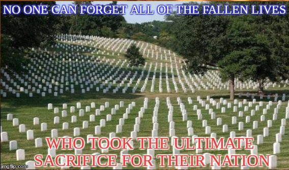 NO ONE CAN FORGET ALL OF THE FALLEN LIVES WHO TOOK THE ULTIMATE SACRIFICE FOR THEIR NATION | made w/ Imgflip meme maker