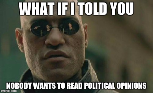 Matrix Morpheus Meme | WHAT IF I TOLD YOU NOBODY WANTS TO READ POLITICAL OPINIONS | image tagged in memes,matrix morpheus | made w/ Imgflip meme maker