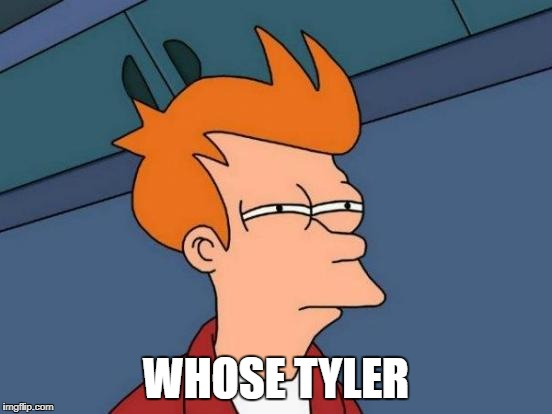 Futurama Fry Meme | WHOSE TYLER | image tagged in memes,futurama fry | made w/ Imgflip meme maker
