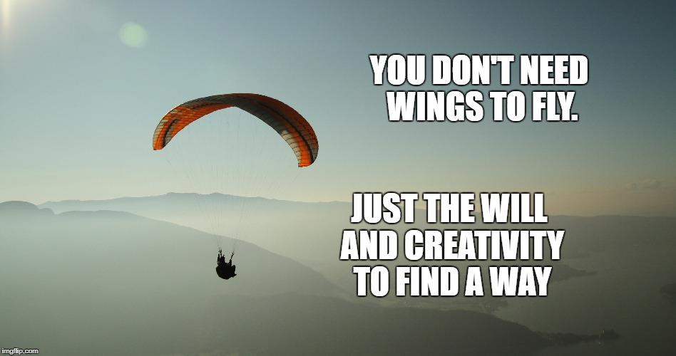 Will and Creativity  | YOU DON'T NEED WINGS TO FLY. JUST THE WILL AND CREATIVITY TO FIND A WAY | image tagged in willpower,goals,life,motivation,creativity,inspirational | made w/ Imgflip meme maker