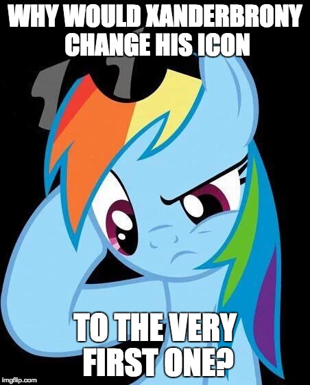 Kinda got tired of the crown! | WHY WOULD XANDERBRONY CHANGE HIS ICON TO THE VERY FIRST ONE? | image tagged in confused rainbow dash,memes,icon,xanderbrony | made w/ Imgflip meme maker