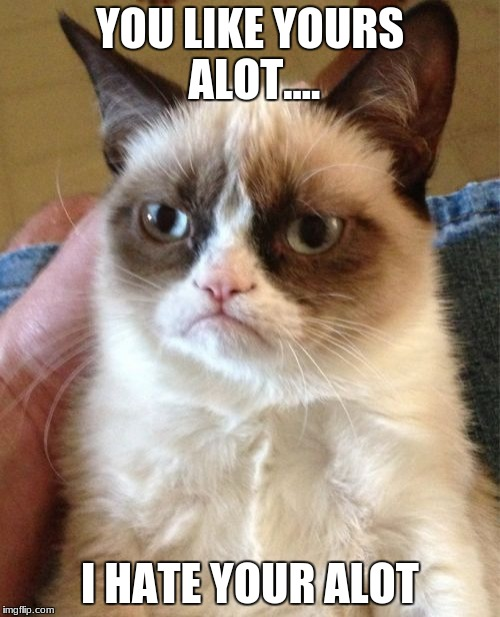 Grumpy Cat Meme | YOU LIKE YOURS ALOT.... I HATE YOUR ALOT | image tagged in memes,grumpy cat | made w/ Imgflip meme maker