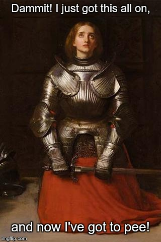Dammit! I just got this all on, and now I've got to pee! | image tagged in joan of arc in armor | made w/ Imgflip meme maker