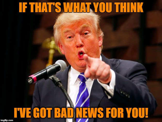 trump point | IF THAT'S WHAT YOU THINK I'VE GOT BAD NEWS FOR YOU! | image tagged in trump point | made w/ Imgflip meme maker