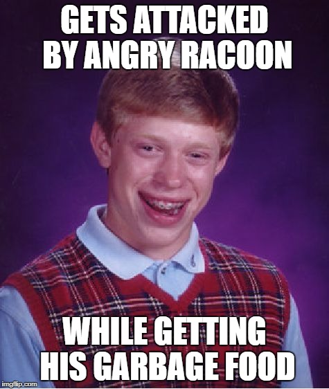 Bad Luck Brian Meme | GETS ATTACKED BY ANGRY RACOON WHILE GETTING HIS GARBAGE FOOD | image tagged in memes,bad luck brian | made w/ Imgflip meme maker