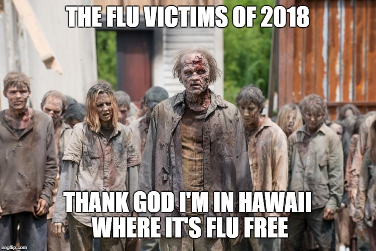 zombies | THE FLU VICTIMS OF 2018 THANK GOD I'M IN HAWAII WHERE IT'S FLU FREE | image tagged in zombies | made w/ Imgflip meme maker