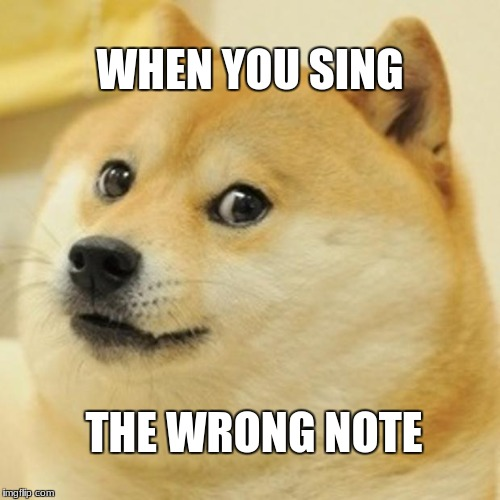 Doge Meme | WHEN YOU SING THE WRONG NOTE | image tagged in memes,doge | made w/ Imgflip meme maker