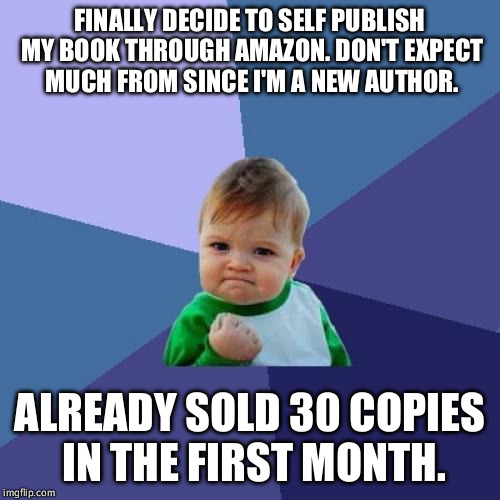 Success Kid Meme | FINALLY DECIDE TO SELF PUBLISH MY BOOK THROUGH AMAZON. DON'T EXPECT MUCH FROM SINCE I'M A NEW AUTHOR. ALREADY SOLD 30 COPIES IN THE FIRST MO | image tagged in memes,success kid | made w/ Imgflip meme maker