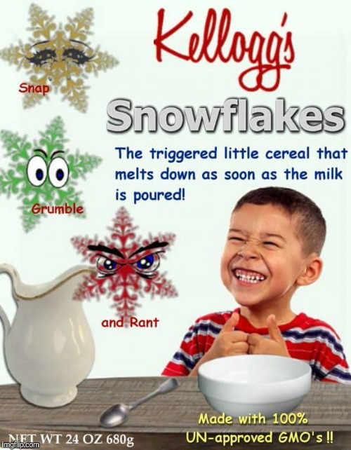 image tagged in snowflakes cereal | made w/ Imgflip meme maker