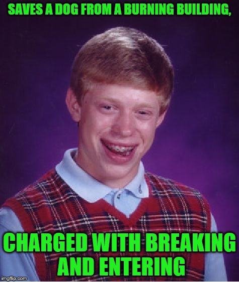 Bad Luck Brian Meme | SAVES A DOG FROM A BURNING BUILDING, CHARGED WITH BREAKING AND ENTERING | image tagged in memes,bad luck brian | made w/ Imgflip meme maker