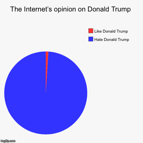 The Internet's opinion on Donald Trump | Hate Donald Trump , Like Donald Trump | image tagged in funny,pie charts | made w/ Imgflip pie chart maker