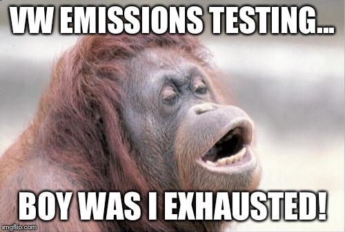 Monkey OOH Meme | VW EMISSIONS TESTING... BOY WAS I EXHAUSTED! | image tagged in memes,monkey ooh,vw,exhausted | made w/ Imgflip meme maker